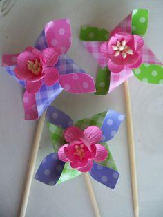 Springtime Easter Pinwheel Cupcake Toppers