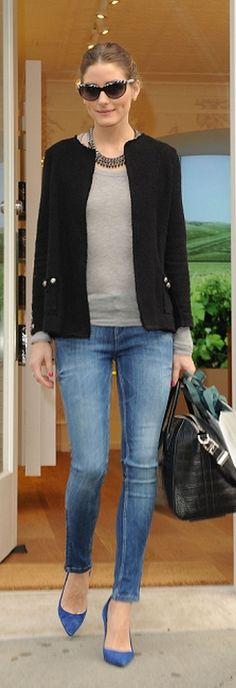 .Black jacket + grey tee + skinnies + cobalt heels