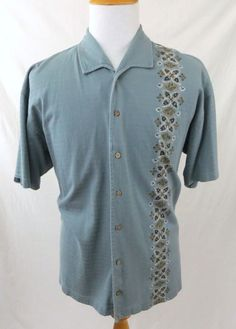 Chaps Ralph Lauren Men's Hawaiian Shirt Size XL Blue Tribal 100% Cotton Button #Chaps #Hawaiian