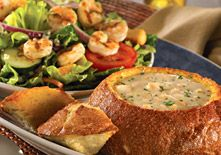 Coastal New England Clam Chowder Soup and  Grilled Shrimp Salad