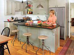 narrow kitchen w/ island and L