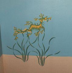 Stenciled sea dragon and sea grasses