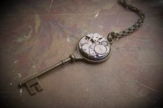 """Absolutely love this! Steampunk """"Clockworks Key"""" from Etsy seller ArtfulGoodies. - $54.00"""
