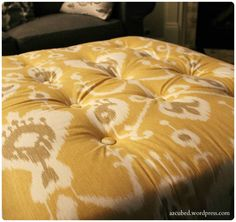 DIY Tufted Ikat Ottoman from Upcycled Pallet