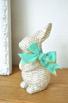 art crafts, bunni decor, decoupag bunni, book pages, bunny crafts, spring crafts, easter bunny, decoupage, old books