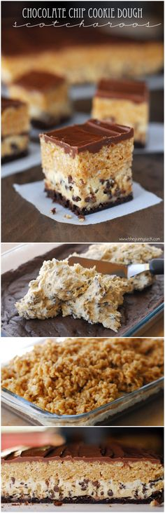 Chocolate Chip Cookie Dough Scotcharoos are three layers of amazingness! Cookie bar crust with eggless chocolate chip cookie dough topped with scotcharoos!