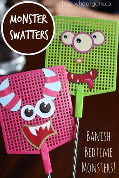 "Banish those bedtime 'boos' with these DIY Monster Swatters! Learn how with ""Happy Hooligans""."