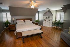 Master bedroom plantation shutters.