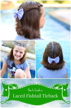 Laced Fishtail Tieback.  Great for short hair!  #cutegirlshairstyles #hairstyles #fishtailbraid #fishtail #short hair