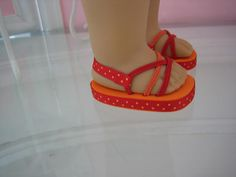 Doll Sandals made to fit 18 inch American Girl Dolls- Foam soles, hair ties, ribbon.