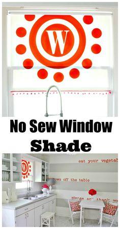 Easy idea for a no sew window treatment. Add a vinyl monogram to a window shade. thistlewoodfarms.com