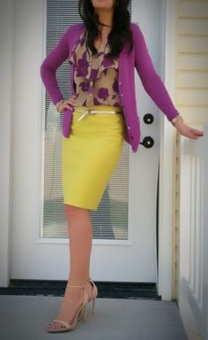 Yellow skirt, floral top and purple cardigan