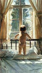 I've always loved how Steve Hanks captures the light in his paintings. Watercolor.