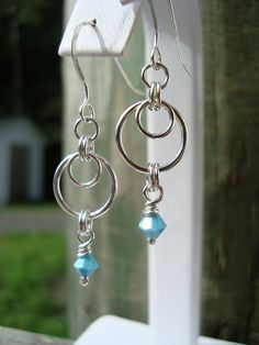 Sterling silver and turquoise Swarovski bicones