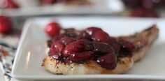 #paleo PaleOMG Cherry Mustard Pork Chops paleo cherri, cherri pork, pork chop, cherri mustard