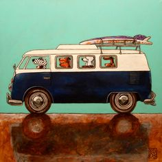 058 SURFDUDES - signed and numbered print of a vw and dogs - 14 x 14 cm / 5.5 x 5.5 inch. $18.00, via Etsy.