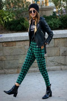 Need a Back-to-School Outfit Idea? Here's 50! Vogue Fashion, Trousers, Fashion Style, Fashion Outfits, Green, Street Style, Teenvogue, Leather Jackets