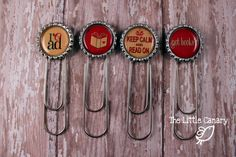 Bottle Cap Bookmark...attach it to a bookstore gift card for a cute teacher's gift