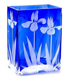 Iris Vase in Azure Blue - cynthiamyersglass.com