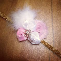 Pink and Gold Satin Rose Flower Headband on Etsy, $9.00