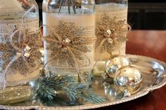 Altered Bottles Tutorial holiday, table decorations, christmas dinners, christmas centerpieces, christmas decorations, decorative bottles, altered bottles, sheet music, dinner tables