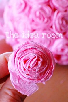 #DIY #crafts #Valentine's Day #pink #rose tissue flowers #giftwrapping ToniK ⒷMine  theidearoom.net