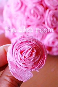 #DIY #crafts #Valentine's Day #pink #rose tissue flowers #giftwrapping ToniK ⒷMine  theidearoom.net