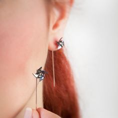 Pinwheel earrings, earring minimal modern.