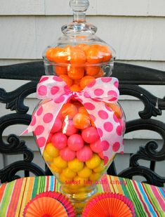apothecary jar decorating ideas | Bubble Gum Party Centerpiece – POP of Color in your Apothecary Jar!