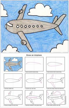 Art Projects for Kids: How to Draw an Airplane. Print friendly PDF file available to download.