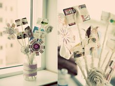 Classic gift card bouquet--retro looking flowers.