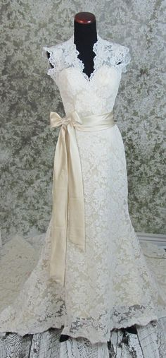 Beautiful lace satin ribbon sash....lovely ivory and champagne wedding dress