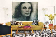 Talk about 60's and hip all at once.  This is Diane von Furstenberg's penthouse apartment along the Highline in New York.