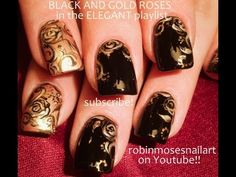 Vintage Black and Gold Nail art! spread the pin!!! xoxoxox