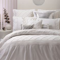 Our Lexie Quilt Cover by Logan and Mason is a beautifully elegant addition to your bedroom. #pillowtalk #pillowtalkhome #bedlinen #quiltcover