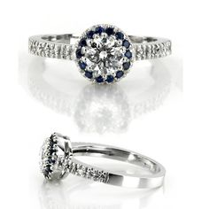 This classic halo engagement ring is furnished with sapphires and diamonds. {From: 25karats.com}