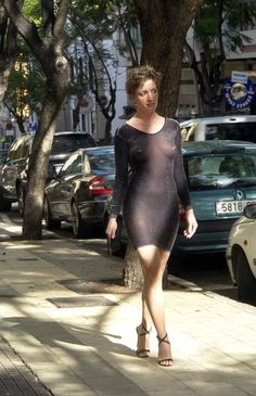 Tight and see thru dress in public