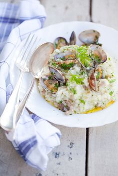 wild mushroom and clam risotto