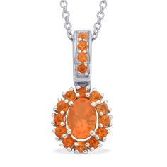 Liquidation Channel | Jalisco Fire Opal Pendant with Chain in Platinum Overlay Sterling Silver (Nickel Free)