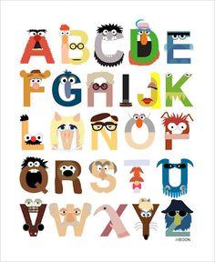 LOVE! Mike Boon Muppet alphabet art print. Via Week Birdy for Kidspot.