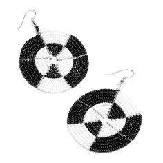Beaded Black and White #Earrings  Country of Origin: Tanzania
