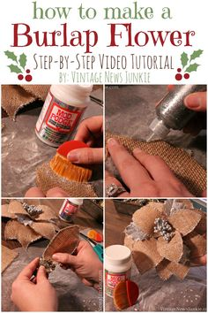 How to Make a Burlap Flower {Step-by-Step Video Tutorial} #burlap #tutorial #ModPodgeHoliday