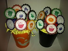 October Teacher Gift Tootsie Pop Bouquet with Stampin' Up Halloween stamps.  $1 bin buckets with floral foam and shredded paper. :)