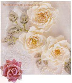 делаем чайные розы из лент