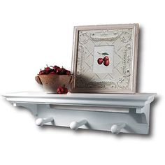 Shelf with Pegs, White, 17''  29.97