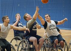 Penn State Disability Services hosts wheelchair basketball every Wednesday evening at White Building. Anyone who wants to experience the sport is welcome. October is Disability Awareness Month at Penn State.Visit http://equity.psu.edu/ods/diversability/schedule for more information about this and other events. This photo by Patrick Mansell makes you feel like you are in the game!