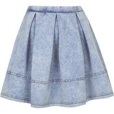 TOPSHOP Denim Look Flippy Skirt found on Polyvore