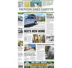 The front page of the Taunton Daily Gazette for Wednesday, July 30, 2014.