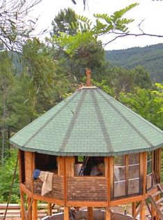 an elevated yurt home