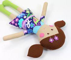 Mini Rag Doll for Girl  Eco Toy  Ethnic Rag Doll  by CleoAndPoppy, $36.00